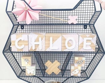 wooden name blocks, letter blocks, custom name blocks, personalised name blocks, personalized blocks, handmade blocks