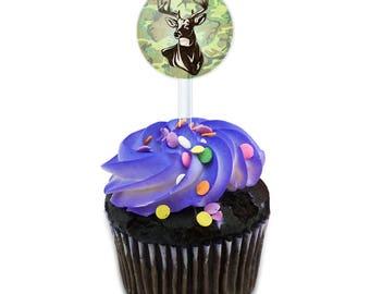 Deer Hunting Green Camouflage Cake Cupcake Toppers Picks Set