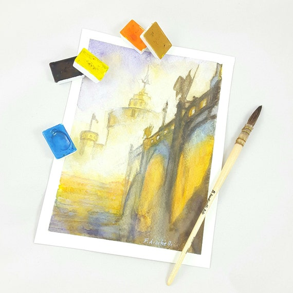Watercolor landscape, copy of unknown artist, glimpse of a city with bridges and castles, original gift idea, home office decoration.