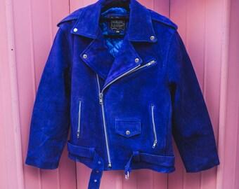 Genuine Suede Biker Jacket   Cobalt Blue   80's Style