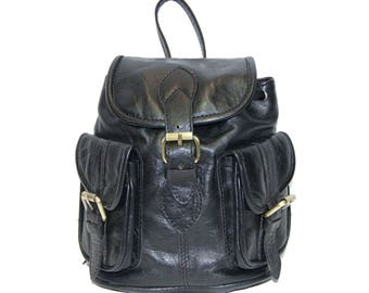 80's Style Mini Rucksack Backpack | Gloss Black Leather