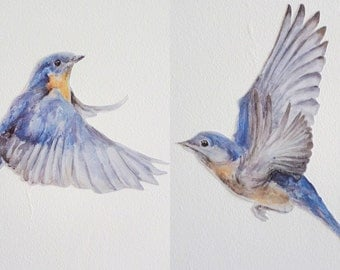 Bird Wall Stickers Eastern Bluebird Bird Decals Pair Bluebird Gifts Patriotic
