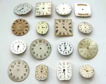 16 pieces. Vintage Watch Face, From Old Watch Parts, For Steampunk Altered Art Gear, or ScrapBooking, Repair