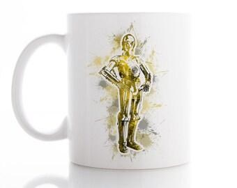 Star Wars Mug, C3PO Mug, Coffee Mug, Tea Mug,  Unique Mug, Funny Mug, Watercolor Ceramic Mug, Kid Mug, Luke Skywalker Mug