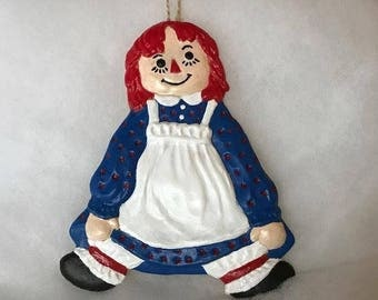 Handmade Hand Painted Beeswax Primitive Raggedy Ann Hanging German Christmas Ornament With Gift Box