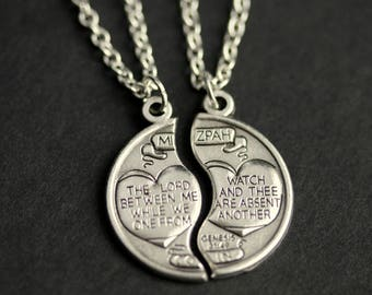 Mizpah Necklace. Couples Necklace. Mizpah Medal Necklace. His and Hers Necklace. Genesis 31:49 Charm Necklace. Christian Jewelry.