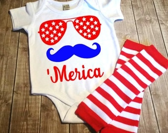 Merica Bodysuit - Infant 4th Of July Outfit - 1st 4th Of July Outfit -American Pride Shirt Fourth Of July Shirt For Baby - Patriotic Outfit