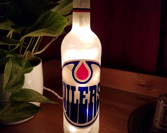 Edmonton Oilers NHL Wine Bottle Accent Lamp-Fandom-NHL-Nightlight-Birthday-Gifts for Him-Easter