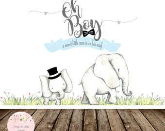 Digital Oh Boy Backdrop, Oh Boy Elephant Baby Shower Backdrop, Little Man Backdrop, Bow Tie Backdrop, Sweet Table Backdrop