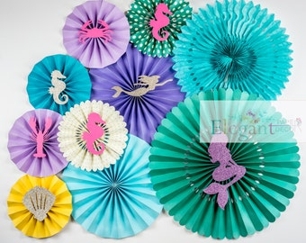 Paper Rosettes,Paper Fans,Pinwheel Backdrop, paper pinwheels, valentine,  wedding decoration, engagement party, flower backdrop, Mermaid