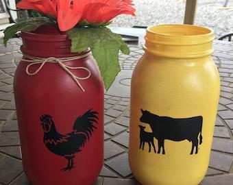Farm Animal Mason Jars
