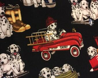 Fabric Art Fire Gear Dalmatian Truck Puppy Fat 1/4 Yard - Beautifully Illustrated Fiber Textile Art-Home Decor-Rare
