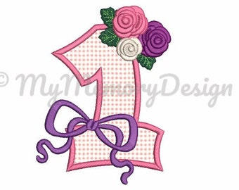 1st birthday embroidery design - First birthday applique - Baby embrodery design - Baby girl embroidery - Machine embroidery file - 3 size
