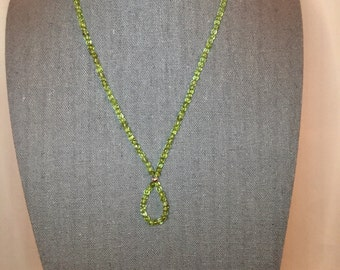 "Peridot Beaded Necklace with Loop, 18"", sterling silver clasp"