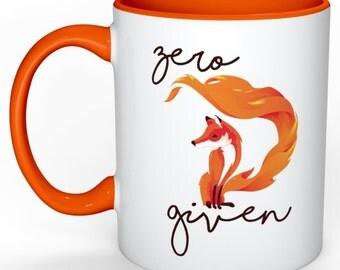 "Zero ""fox"" given custom coffee mug"