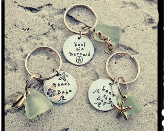 Sale* Sea Glass Keychains - Natural Surf Tumbled Sea Glass//Hand Stamped Pewter//Beach Charm - Quote Keychain/Ocean Theme - Driver/Car Gift