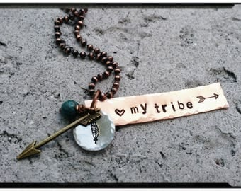 Sale* My Tribe - Mixed Metal Charm Necklace//Cooper Tag//Stone//Feather/Arrow Stamp//Arrow Charm -Hand Oxidized Copper Bead Chain