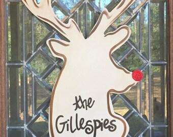 Reindeer door hanger with glitter nose Christmas door hanger Deer silhouette door hanger
