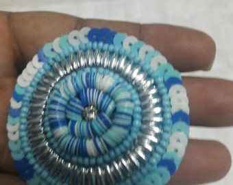 5 beautiful embroidery round, light blue appliques zardozi patches, sequin & beads ,saree patch