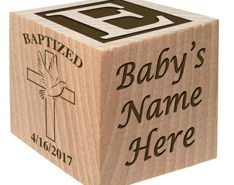Christening Block - Unique Baptism Gifts - Christening Gift keepsake Custom Engraved wooden baby blocks for newborn girl newborn boy