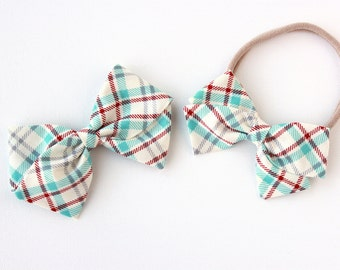 Baby Girl, Toddler, Girls Fabric Bow, Newborn, Hand tied bow- Plaid, Baby blue, red, gray and cream.