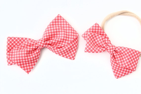 Baby Girl, Toddler, Girls Fabric Bow, Newborn, Hand tied bow- Salmon pink polka dots