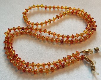 Amber and Gold Acrylic Eyeglass Chain
