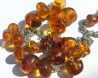Russian Baltic Amber Necklace - with insect inclusions