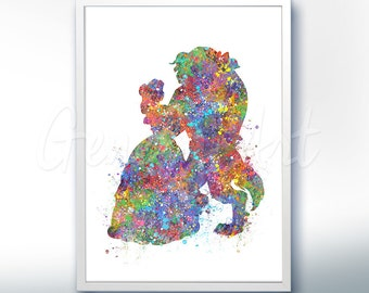 Disney Princess Belle Beauty and the Beast Watercolor [2] Poster Print - Watercolor Painting - Watercolor Art - Kids Decor- Nursery Decor