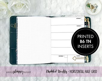 Printed B6 Undated Horizontal Weekly Travelers Notebook | Horizontal Weekly Planner Insert | No5/B6 TN Inserts
