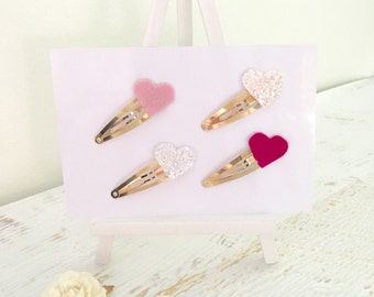 Heart clips, pink heart clip, white heart clip, pink heart clip, sparkly heart clip, glitter heart clip, girls hair accessories