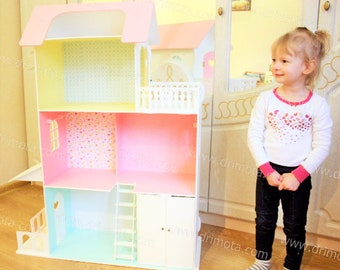 Big Barbie Dollhouse with furniture, Wooden dollhouse, Barbie Dollhouses, Dollhouse kit, Big Barbie House, Dollhouse, Doll house