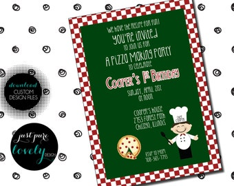 Pizza Party Birthday Invitation | Red | Green | Chef | Printable