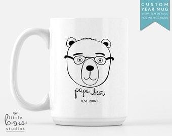 Customized Papa Bear Mug, Mug for Dad, Personalized Father's Day Mug, Gift for Dad, Christmas Gift for Dad, 15 oz mug, Pregnancy Reveal Mug