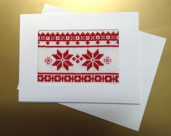 Cross Stitch Card, Christmas Card, Embroidered Card, Red and White Card, Stitched Card, Blank Card, Winter Card, Christmas Star Card, 5 x 7