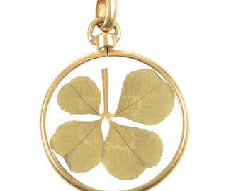 4 Leaf Clover Pendant in 14 KT Gold and Crystal