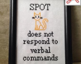 "Spot does not respond to verbal commands - with BONUS font sampler - Star Trek: TNG 5""x7"" cross-stitch PATTERN - instant download .pdf"