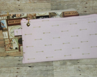 You Choose. World Travel or Soft Pink with Gold Arrows Zippered Cosmetic Bag Pencil Bag