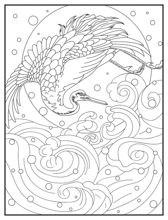 Digital Coloring Book Download : Japanese Coloring Book Ukiyo e: A Japanese Woodblock Digital Downloads 30 Colouring Pages ...
