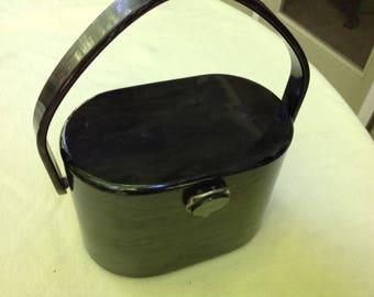 Vintage marblized gray Wilardy lucite handbag