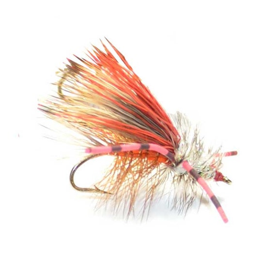Hand-Tied Fly Fishing Trout Flies: Orange Crystal Stimulator Dry Fly - Hook Size 14
