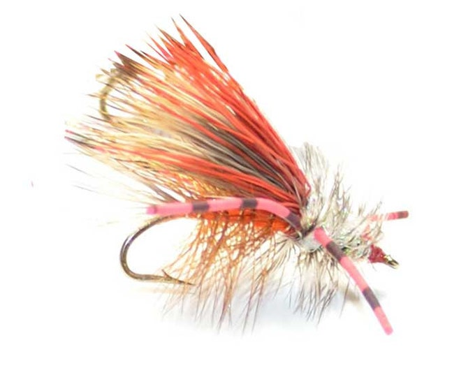 Hand-Tied Fly Fishing Trout Flies: Orange Crystal Stimulator Dry Fly - Hook Size 12