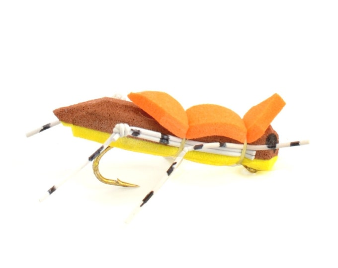 Hand Tied Trout Flies: Morrish Hopper Foam Body Grasshopper Dry Fly - Yellow/Brown Body - Hook Size 10