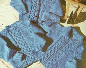 Childs Chunky Knit Jacket Knitting Pattern.