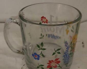 Beautiful Glass With Variety Of Colorful Flowers & Inscription #1 MOM**  Made In U.S.A