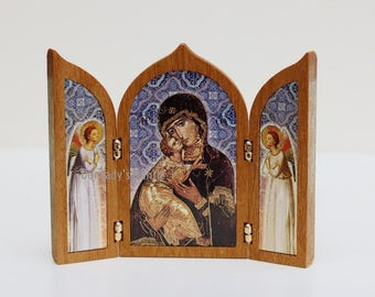 Our Lady of Vladimir Icon of the Mother of God Triptych Travel Shrine Made in Italy