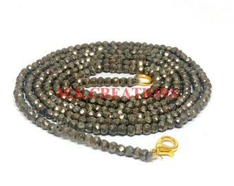 """On Sale Natural Pyrite 3-4mm Faceted 22"""" Beads Necklace - Pyrite Beaded Necklace - Pyrite Faceted Beads - Pyrite Rondelle Beads"""