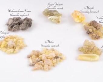 Incense sample kit per grade 7 g - Al Hojari, Mushaat, Ethiopia, Somalia and others