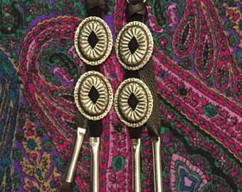 Black Suede and silver concho earrings