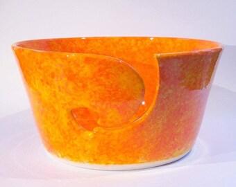 Yarn bowl in a textured orange glaze